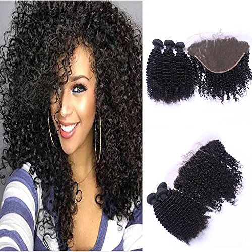 Best Quality Ear to Ear Frontal Lace Closure 13x4 With 3 Bundles Kinky Curly Hair Weft Weave Extensions,100% Virgin Brazilian Human Hair Weaving Natural Color (14'' 16'' 18'' +14'' Lace Frontal)