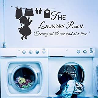 Sticker mural en vinyle avec inscription « The Laundry room Sorting Out Life One Load At A Time » Noir