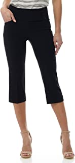 Rekucci Women's Ease into Comfort Wide Waist Capri with Back Lacing Detail