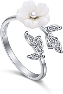 925 Sterling Silver Cultured Pearl Flower Adjustable Ring for Women, Size 7