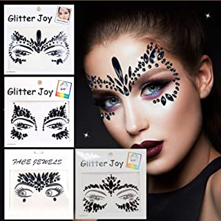 Leoars Rhinestone Face Gems Jewels, Festival Face Jewels Tattoo Stickers, Rave Crystals Face Gems Stick on, Body Gem Stones Bindi Temporary Face Tattoos for Festive Rave, 4-Pack,Black