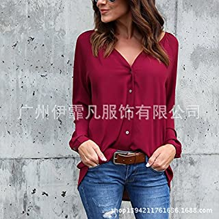 Manufacturer directly sells 2018 V collar fold button long sleeved loose chiffon shirt 8 color 8 yards