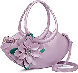 Women's Cross-Shoulder Shoulder Bag Fashion Tote Three-Dimensional Flower Shoulder Bag Dinner Tote Candys house (Color : Purple, Size : 16 * 42 * 8cm)