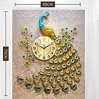 壁掛け時計クォーツクリエイティブモダンラグジュアリー3Dダイヤモンドクリスタルクォーツ孔雀家のリビングルームの装飾用壁掛け時計ラージサイレント-メイン写真4