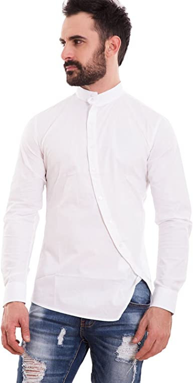 Toocool – Camisa Hombre Slim Fit coreana botones transversales oblicuosajustada Nueva 150233
