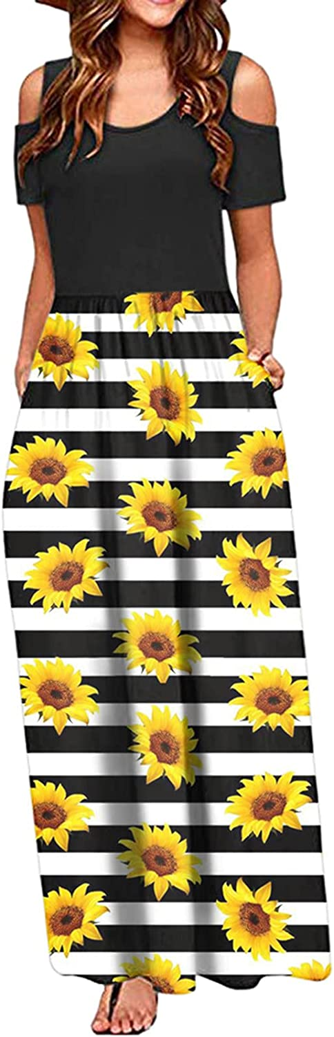 Lovor Women's Short Sleeve Cold Shoulder Maxi Dresses Casual Plain Solid Sunflower Loose Long Dresses with Pockets