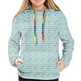 TENJONE Women's Hoodies Sweatshirts,Geometric Composition of Checkered Diagonal Squares with Colorful Dotted Pattern XL