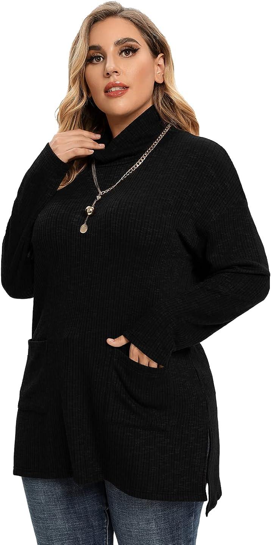 LARACE Women Turtleneck Knit Sweater Plus Size Side Split Pullover Tops with Pockets Long Sleeve Tunic Shirts