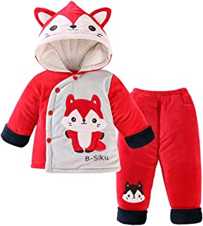 68b1d7413 2 Pcs Baby Toddlers Kids Soft Winter Warm Cartoon Fox Panda Long Sleeve  Hooded Snowsuit Jacket
