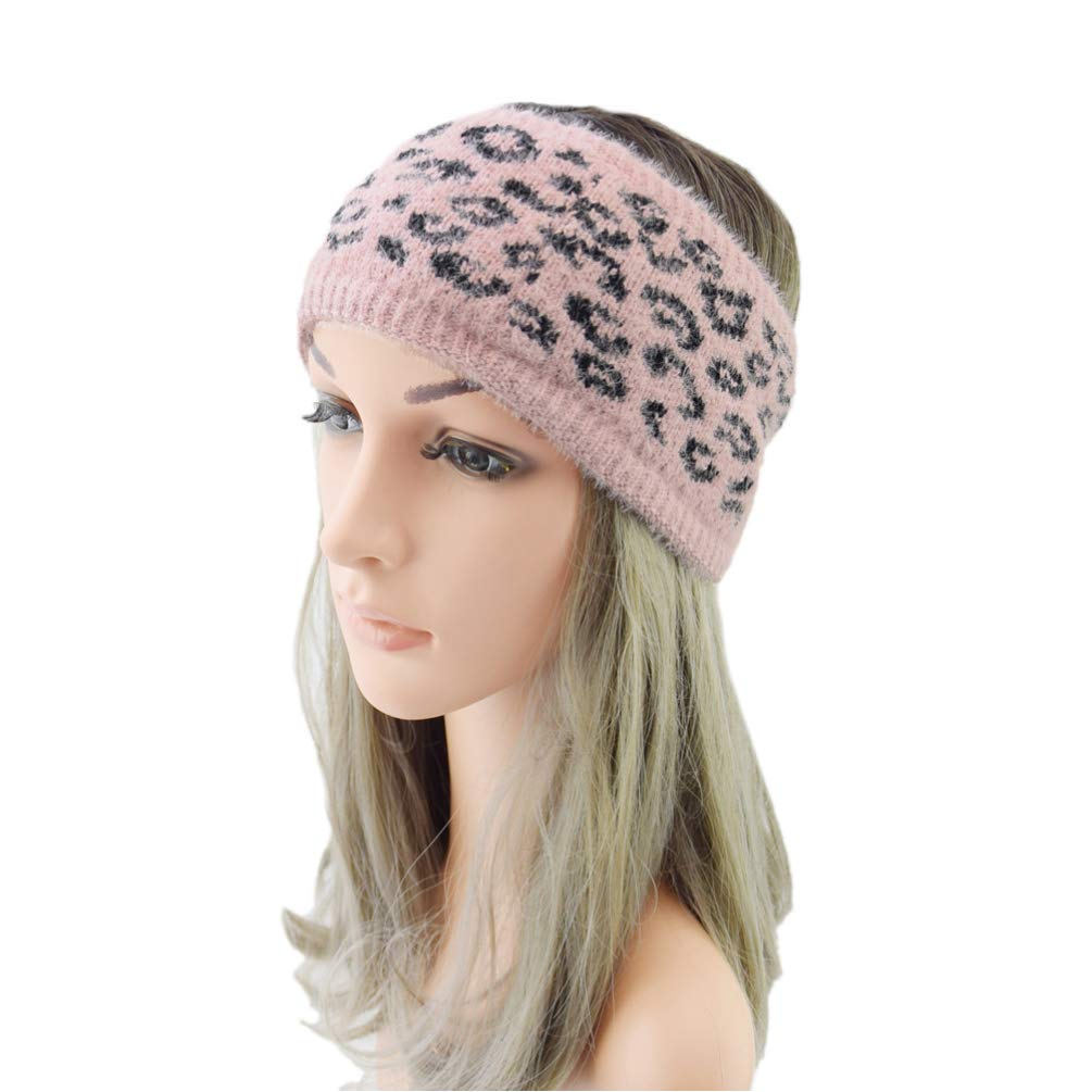 LEORX Winter Headband Thick Leopard Head Wrap Plush Knitted Ear Warmer Soft Wide Headband for Women (Pink)