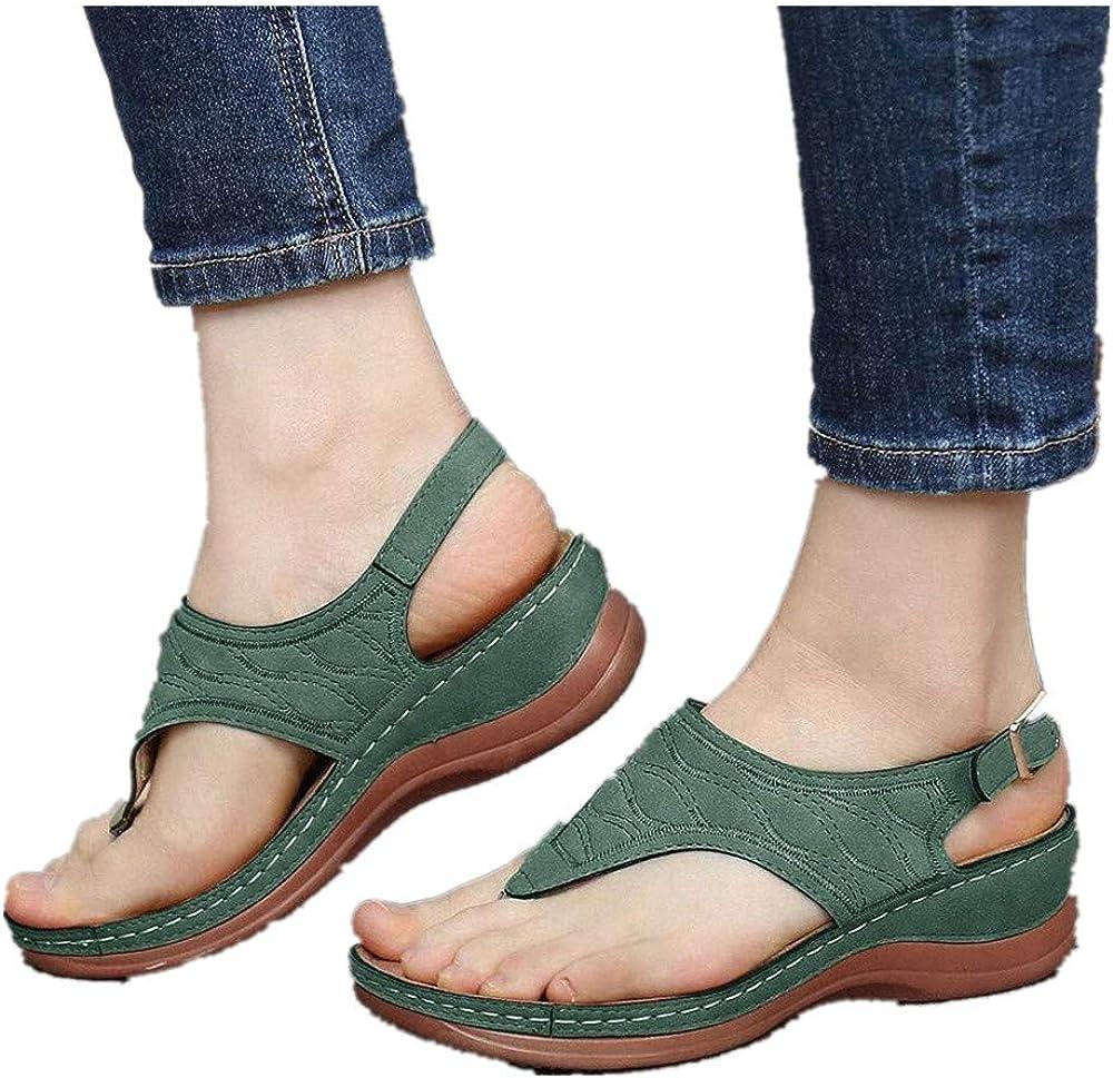 ONHUON Women's Sandals, Comfy Summer Slippers for Big Toe Open Toe Light Weight Flat Sandals Flip Flops