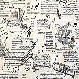 U Stoff Meterware Musikinstumente Noten Geige Posaune Ecru