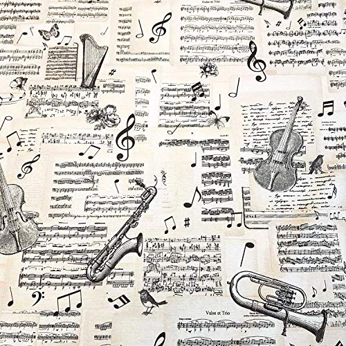 U Stoff Meterware Musikinstumente Noten Geige Posaune Ecru schwarz