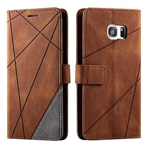 Hülle für Samsung Galaxy S7 Edge, SONWO Premium Leder PU Handyhülle Flip Hülle Wallet Silikon Bumper Schutzhülle Klapphülle für Galaxy S7 Edge, Braun