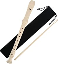 Pangda Descant Soprano Recorder German Style 8 Hole with Cleaning Rod, Black Storage Bag (Ivory White)