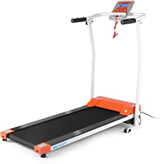 ANCHEER Folding Treadmill, Electric Treadmills for Home with LCD Monitor, Pulse Grip and Safe Key Running Exercise Fitness Machine for Home Gym Office