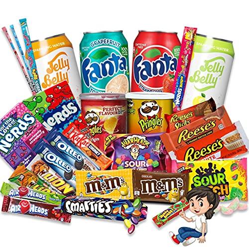 HappyLOL® 28 Teile - XXL Süßigkeiten Box - Süßigkeiten aus aller Welt - Amerikanische Süssigkeiten Box Großpackung inkl. amerikanische Getränke - Candy Box