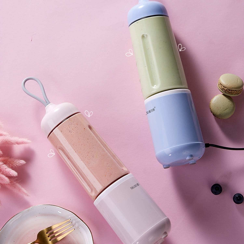 Wangqianli Portable Mini Mixer Ménage Juicer électrique Soymilk jus Coupe Multifonctions Juicer Haute qualité Petit Rechargeable jus Coupe (Couleur : Pink) Bleu