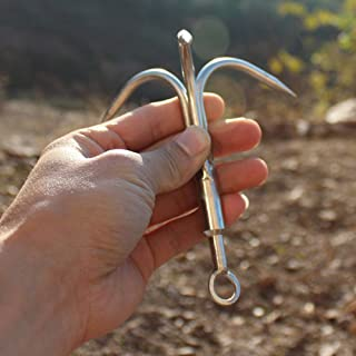 Grappling Hook Grapnel Hook, 3-Claw Stainless Steel Tree Climbing Hook, Brunch Limb Retrieving Removal Hook EDC Tool