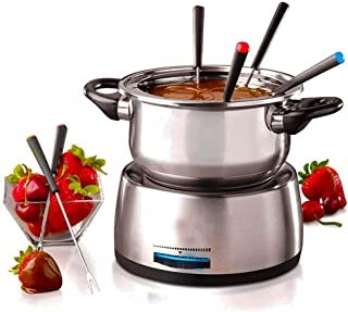 6-Cup Stainless Steel Electric Fondue Pot with Temperature Control, 6 Color-Coded Forks and Removable Pot - Perfect for Ch...