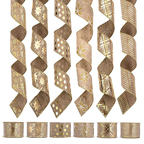 iPEGTOP Wired Christmas Ribbon, Assorted Organza Swirl Sheer Glitter Crafts Gift Wrapping Ribbon Christmas Design Decorations, 36 Yards (6 Roll x 6 yd) by 2.5 inch, White/Gold