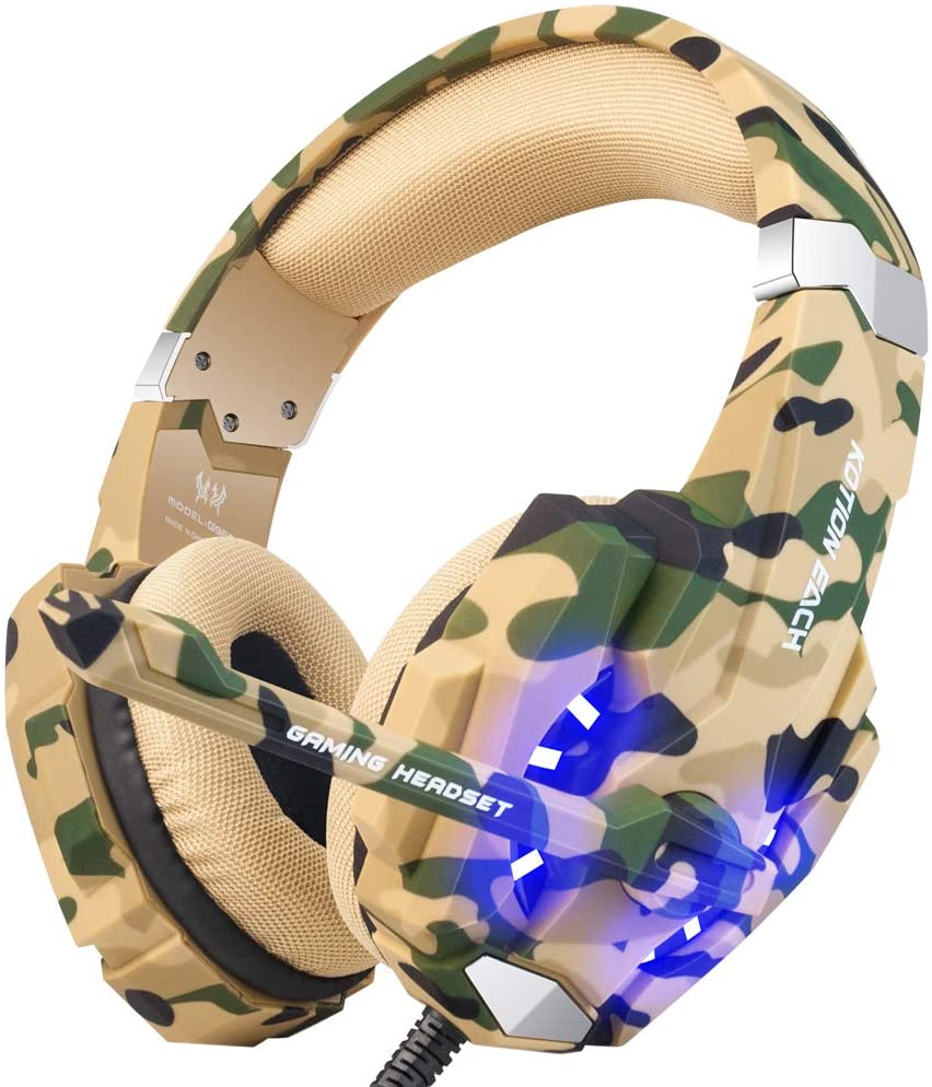 BENGOO Stereo Gaming Headset for PS4, PC, Xbox One Controller, Noise Cancelling Over Ear Headphones Mic, LED Light, Bass Surround, Soft Memory Earmuffs for Laptop Mac Nintendo Switch –Camouflage