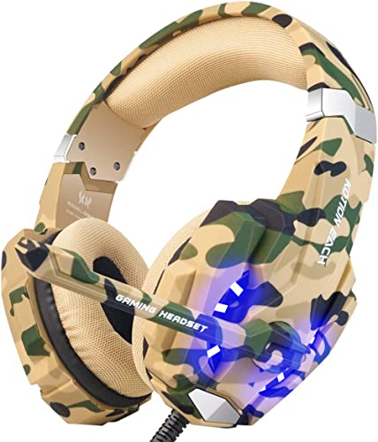 BENGOO Stereo Gaming Headset for PS4, PC, Xbox One Controller, Noise Cancelling Over Ear Headphones Mic, LED Light, B...