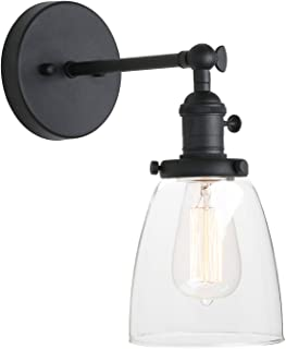 Pathson Vintage Wall Sconce with On Off Switch, Clear Glass Shade Black Vanity Light, Indoor Wall Lighting Fixtures for Bathroom Bedside Garage Porch Cafe Club