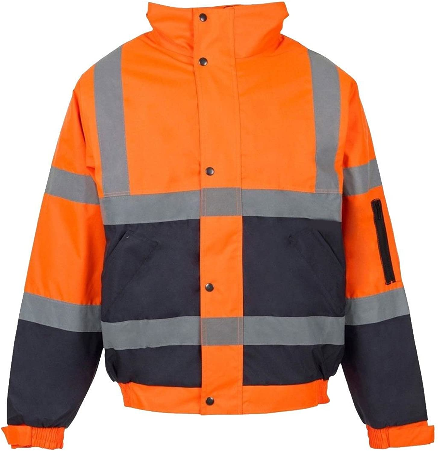 21FASHION Mens Hi Vis Visibility Two Tone Bomber Jacket Adults Waterproof Security Coat Small4XLarge