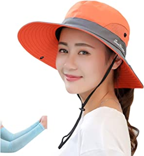 E.Joy Online Women's Outdoor Sun Protection Wide Brim Mesh Fishing Hat Bucket Hat with Ponytails