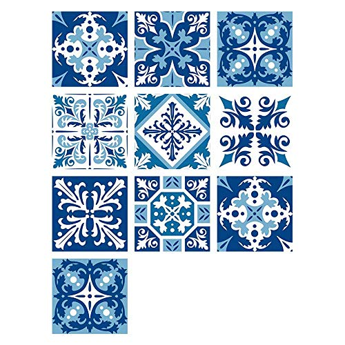 Creatieve Tegel Sticker Waterdicht Verwijderbare Muursticker Retro Blauw Zelfklevende Tegel Sticker Mozaïek Tegel Badkamer Keuken Sticker 10 STKS