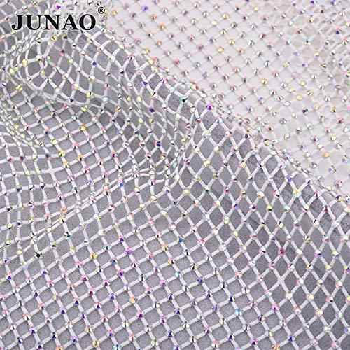 Great Deal! Xuccus JUNAO 3040cm Shiny Black AB Glass Rhinestones Net Fabric Sheet Stretch Crystal Me...