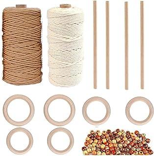 YULIN DIY Makramee Garn Set,2 Pcs 3mm Makramee Baumwolle, 50 Stück Holzperlen, 6 Stück Holzringe, 4 Stück Holzstäbchen, für Gartenarbeit, Kochen, Basteln und mehr Dekoration, Bastelarbeiten