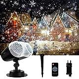 ROVLAK Luces de Proyector de Halloween LED Proyector de Copo de Nieve con Control Remoto y Función de Sincronización Lámpara de Proyección para Christmas Halloween Fiestas Navidad