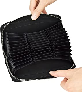 RFID Blocking Credit Card Wallet Genuine Leather Card Holder Zip Around Clutch Purse for Women Men Large Capacity 36 Slots