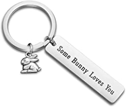 WUSUANED Some Bunny Loves You Rabbit Keychain Easter Gift for Rabbit Lover Family Best Friends