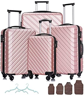 Apelila 4 Piece Hardshell Luggage Sets,Travel Suitcase,Carry On Luggage with Spinner Wheels Free Cover&Hanger Inside (Rose...
