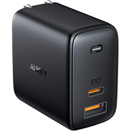 PD 充電器 AUKEY usb充電器 usb-c充電器 GaN充電器 オム二アミックス アダプタ USB-C急速充電器 65W GaN (窒化ガリウム) 採用 ノートPC充電可能 折畳式 PD3.0搭載 iPhone 12 / 12Pro / 12Pro Max/MiNi / iPhone 11 / 11Pro / 11Pro Max/XR / 8 、 Galaxy S10 / S10+、MacBook Pro、その他USB-C機器対応 PA-B3 ブラック