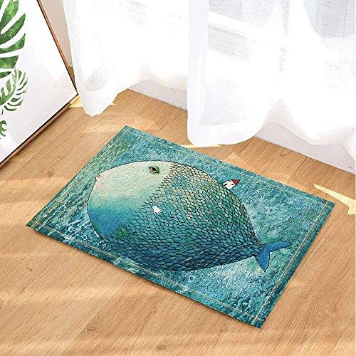 gwegvhvg Un Enorme pez Ovalado en Cuclillas en una Mini choza Súper Absorbente, Alfombrilla Antideslizante o tapete de la Puerta, Suave y cómodo