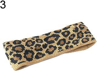 xMxDESiZ - Diadema elástica de punto para mujer, diseño de leopardo