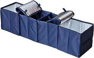 Autoark Foldable Multi Compartment Fabric Car Truck Van SUV Storage Basket Trunk Organizer and Cooler Set,Navy Blue,AK-009