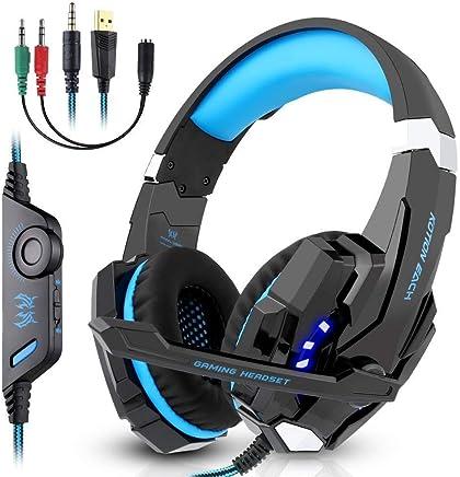 OCDAY Cuffie da Gioco con Microfono,Gaming Headset G9000,Bass Audio Stereo con Lampada a LED Luminosità,con Regolatore e Connettore espandibile da 3,5mm di Volume per 2jack,PS4,PC,Smartphone,Xbox One - Confronta prezzi