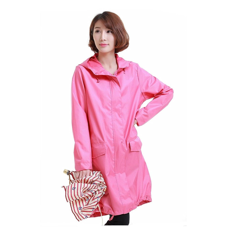 通気性のある Ms. ジャケット レインコート 薄くて軽い 通気性のある 防水 ポンチョ ローズレッド