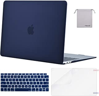 MOSISO MacBook Air 13 inch Case 2019 2018 Release A1932 with Retina Display, Plastic Hard Shell & Keyboard Cover & Screen Protector & Storage Bag Compatible with MacBook Air 13, Navy Blue