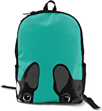 Camping Outdoors Running Mochila Lightweight Polyester Anti-Theft Multipurpose Backpck Big Capacity Bookbag, Boston Terrier and French Bulldog Turquoise Green