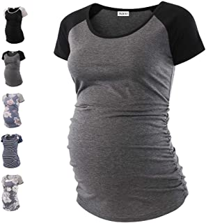 PKBOO Womens Classic Baseball Crew Neck Raglan Sleeve Side Ruched Maternity Tunic Tops T Shirts...