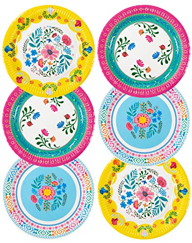 Talking Tables Bohemain Décor Decorations Supplies Boho Floral Tea Party Plates Pack of 12, Dia 23cm, 9', Pink Blue Yellow