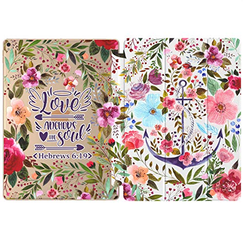 Mertak Case Compatible with iPad Pro 11 2020 12.9 inch Air 3 2 10.2 8th 7th 2018 10.5 9.7 Mini 5 4 Hebrews 6:19 Smart Cover Bible Verse Love Clear Slim Floral Design Quote Scripture Auto Wake Sleep