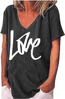 Women V-neck Summer Tops, Ladies LOVE Printed Short Sleeve Plus Size T-shirt Blouse Tops