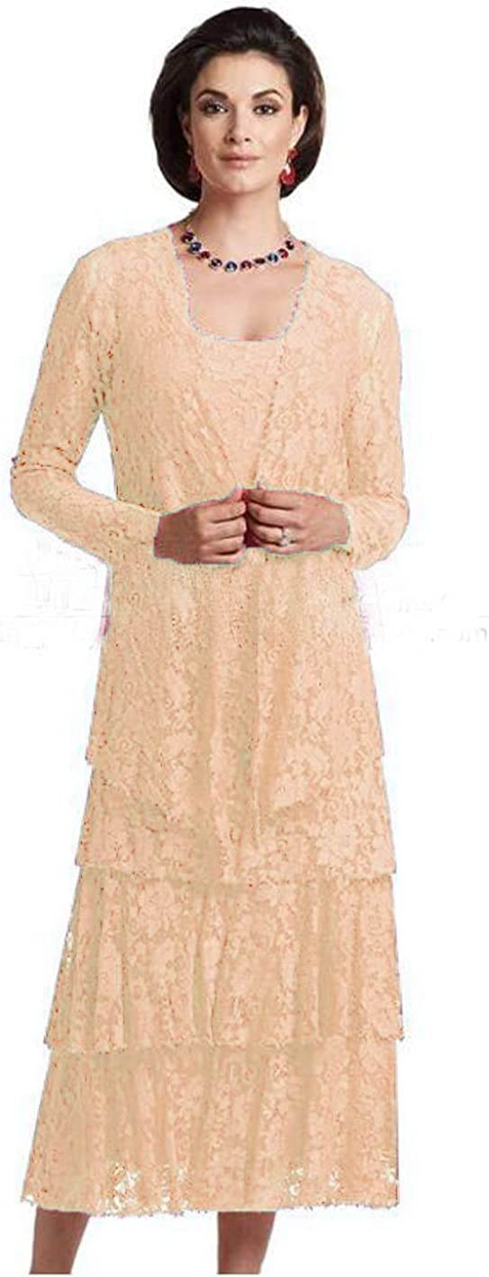 WZW Tea Length Lace Mother Max 77% OFF of Portland Mall The Dress Jacket 2 with Piec Bride